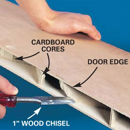 <b>Photo 5: Scrape away the cardboard</b></br> Cut away the corrugated cardboard cores at least 1-1/2 in. from the cut edge. Scrape away the glue carefully without gouging the wood surface.