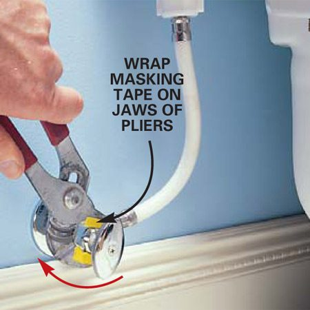 <b>Photo 1: Tighten the packing nut</b></br> Tighten the packing nut on the toilet shutoff valve one-eighth turn clockwise to try to seal a leak around the nut. Wrap cloth or masking tape on the plier's jaws to protect the nut's finish. Use light, steady pressure so you don't damage the water lines.