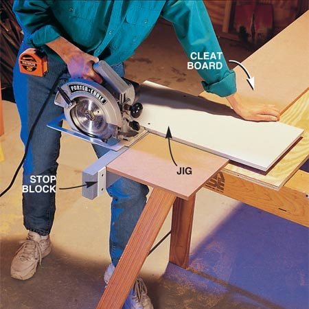 <b>Photo 2: Cut closet components</b></br> Rip two 11-3/8 in. x 8-ft. pieces from the MDF and cut cleats plus one shelf from each. Assemble a simple jig from a 2x4 and an MDF shelf (or plywood scrap) to ensure square cuts and speed up the job. Cut the back and shelves from the remaining piece of MDF.