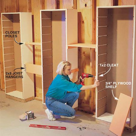 <b>Photo 6: Install towers 2 ft. apart</b></br> Space additional towers at least 2 ft. apart. Then screw cleats, closet rod hangers and other types of supports to the outside faces of the sides to support more shelves and other storage devices.