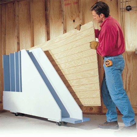 <b>Plywood storage rack</b></br> Store plywood, paneling and drywall in this handy, movable rack.