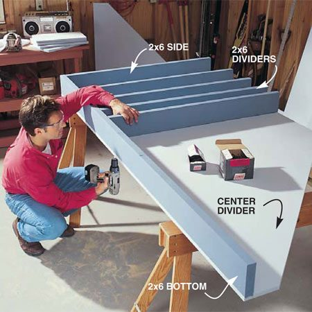 <b>Photo 2: Install the 2x6 and dividers</b></br> Cut the 2x6s to length and position them on the center plywood divider. Tack them to the plywood with 2-in. drywall screws driven from underneath. Then screw the 2x6 dividers to the bottom 2x6 with 3-in. drywall screws.