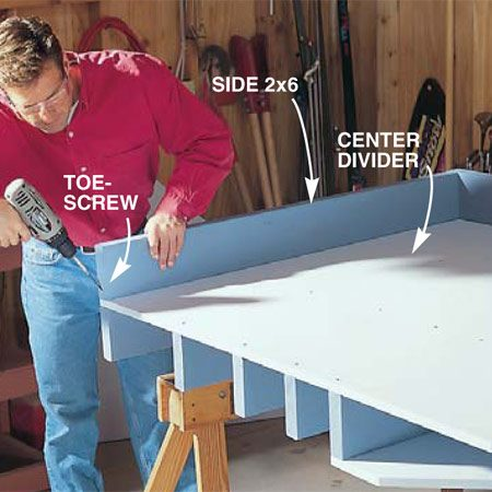 <b>Photo 4: Assemble the back</b></br> Flip the project over and assemble the back section. Position back 2x6s for the bottom and side and fasten them with two 3-in. screws where they meet. Then drive screws at an angle (toe-screw) through the ends of the 2x6s into the assembly below. Attach the plywood back piece to the 2x6s with the 2-in. screws.