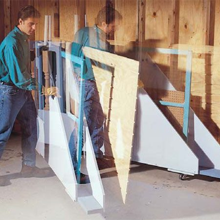 <b>Photo 8: Load up the rack!</b></br> Swing the rack out from the wall and load it with plywood, drywall and other big, flat stuff.