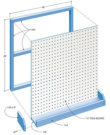 Figure A: Pegboard Shelf and Bin