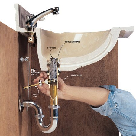 how to fix bathroom sink drain how to clear clogged drains the family handyman 25386
