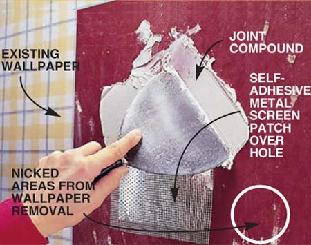 <b>Photo 3: Repair the wall</b></br> Apply a selfsticking metal screen patch (about $4 at home centers) over the hole after removing the patch and old paper. Apply two coats of joint compound in <em>thin</em> layers, feathering it out at the edges and sanding the repair flat. Since the hole repair will be covered by wallpaper, it doesn't have to look as perfect as a regular wall repair.