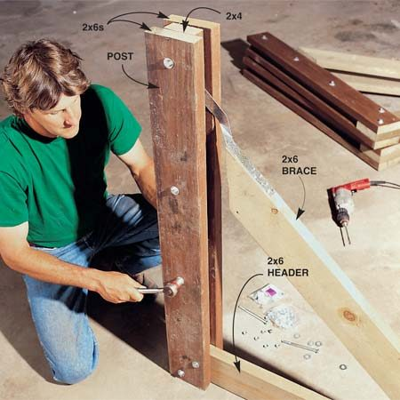 <b>Photo 3: Finish the stanchions</b></br> Tack the second 2x6 post member to the 2x4 with three 3-in. nails and bolt the assembly together with 5-1/2 in. x 3/8-in. bolts, washers and nuts (see Fig. A for Fastening positions).