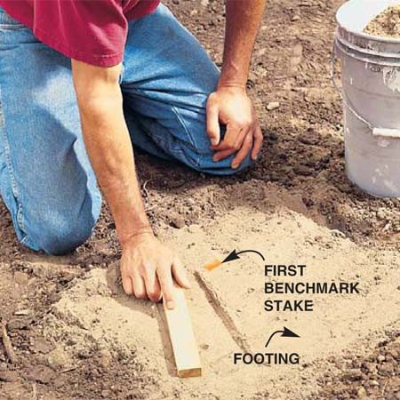 <b>Photo 5: Level the first post footing</b></br> Dig the first end post footing by removing the top 4 in. of soil in a 2-ft. square area. Pound a stake near the center of the hole, keeping the top of the stake even with the top of the hole. Pack the hole with sand, then smooth it with a flat board.