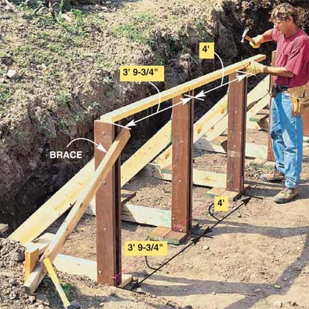 <b>Photo 8: Brace the stanchions</b></br> Plumb and brace the first stanchion. (You'll be anchoring the others to it.) Set additional stanchions along the string line. Set the second stanchion 3 ft. 9-3/4 in. from the first stanchion (center to center, not the space in between) and all the others at 4-ft. increments. That way the 8-ft. wall planks will always meet in the middle of a stanchion. Set the bottoms first, then plumb them. Hold the stanchion tops in place by tacking on a 2x4. Mark the 2x4 with the proper spacing and tack it to the other stanchions.