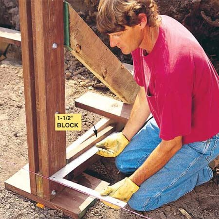 <b>Photo 9: Square the stanchion</b></br> Square each stanchion to the mason line with a carpenter's square. Hold a 1-1/2 in. thick block against the header to fur it out for squaring. Shovel dirt over the end of the header to help lock the wall in place.