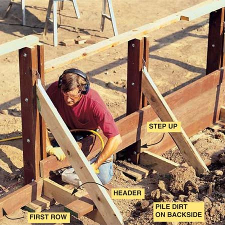 <b>Photo 10: Cut and nail the wall planks</b></br> Cut the first row of planks to fit between the headers, then nail the boards into each stanchion with two 16d galvanized nails. Add planks, alternating the joints behind posts for a stronger wall.