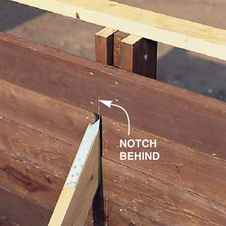 <b>Photo 12: Cut a slot for the strap</b></br> Notch the row directly over the braces by holding them in their proper positions and tapping them against the sharp edge of the strapping. Using the indentations as a guide, make a couple of passes through the backside of the board with a circular saw to create a slot for the strap.