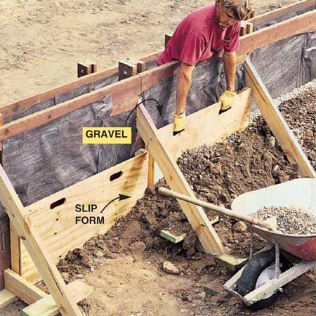 <b>Photo 14: Use slip forms to backfill</b></br> Build two 2x4 and 1/2-in. plywood slip forms to allow you to backfill with a thin layer of gravel behind the wall. Shovel about 1 ft. of earth against the slip form and fill it to the same level with gravel, then pull the slip form up and repeat the process until the wall is filled to within 1 ft. of the top