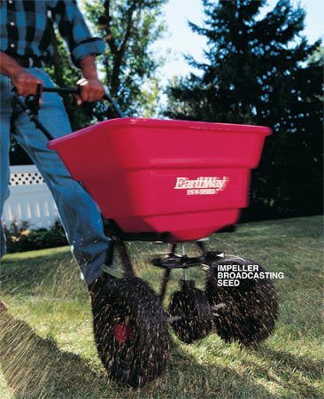 <b>Photo 1: Spreaders use rotary action</b></br> Spread grass seed and other lawn products uniformly, quickly and efficiently using a broadcaster spreader.