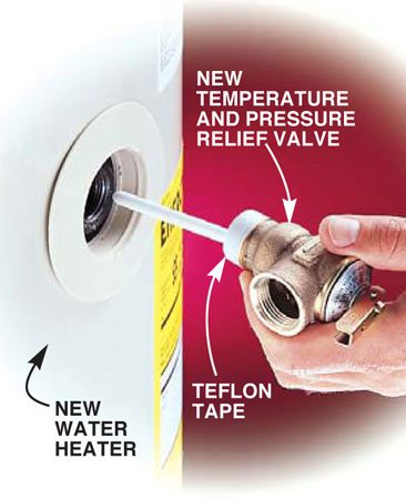 <b>Photo 4: Attach the relief valve</b></br> Wrap the threads of the new temperature and pressure relief valve with Teflon tape (three turns). Screw it tightly into the tank with a pipe wrench. Attach a copper discharge pipe (see Fig. A for routing details).