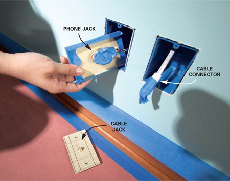 <b>Protect sensitive areas from paint</b></br> <p>A little  paint in the wrong place can cripple the connections   that serve  your phone, TV or computer. To   protect  phone jacks without disconnecting all those   tiny wires,  unscrew the faceplate and cover the front with   masking  tape. Then mask the terminals on the backside   of the  plate. Slip the plate into the junction box. Disconnect   coaxial  cable from its plate and tape the cable's   connector. </p>