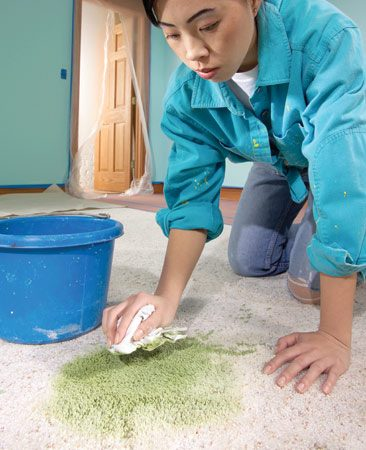 <b>Move quickly and use a lot of water</b></br> <p>Speed and lots of  water are the keys to removing   spilled paint from  carpet. Immediately   scoop up the spill  with a wide   putty knife, dustpan  or whatever   is handy. Don't wipe  up the spill;   you'll just force  the paint deeper   into the carpet.  Then start to   blot the paint with  a wet (not   just damp) rag. Keep  the paint   wet. Continue  blotting, refill the   bucket with clean  water and blot   some more until the  paint is no   longer visible. When  you're done, set up a fan  to dry out the soaked  carpet.</p>