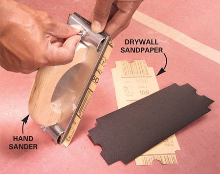 <b>Heavy-grit paper will leave sanding marks</b></br> <p>It's  tempting to buy 80-grit paper to speed up the sanding   job. But  because modern lightweight joint compound is   so soft, you  don't need heavy-grit paper to sand it.   Coarse-grit  paper or sanding screens will leave undesirable   sanding  marks. We recommend precut sheets of 120-grit or    150-grit  paper for the best results. Make sure the   paper is  taut by first anchoring one end under   the clamp.  Then push the other   end under  the other clamp with   one hand  while you tighten the   clamp screw  with the other.</p>