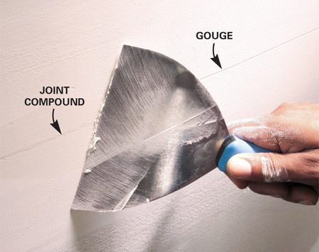<b>Use joint compound to fill depressions</b></br> <p>Don't try to  sand out gouges and big ridges. It's much   easier just  to trowel on another coat of joint compound.   This is  especially important at the edge of joints,   where too  much sanding will damage the paper face   on the  drywall. It's quick and easy to trowel a thin coat   over the  edge of the seam to fill a depression.    Touch up  grooves and large ridges with another coat of joint   compound  rather than trying to sand them out. It may take a few   coats to  fill deep grooves.</p>