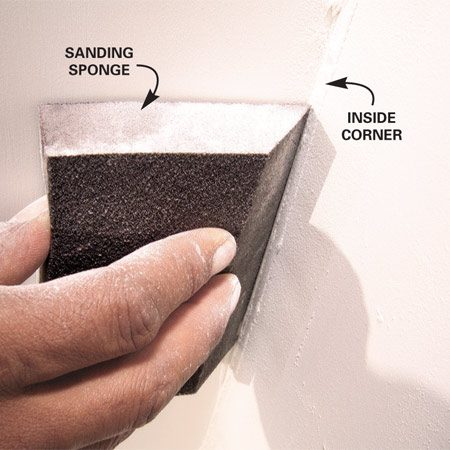 <b>Hand sanders gouge corners easily</b></br> <p>Sanding  inside corners with a hand sander is asking for   trouble. In  the first place, it's difficult to get a crisp corner.   But even  more troublesome is the tendency to scuff or   gouge the  opposite side of the corner with the edge of the   sander. It's  OK to sand within a few inches of the corner   with your  hand sander. Then go back and touch up with a   sanding sponge or folded piece of drywall sanding  paper. </p>