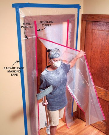 <b>Create a tight, plastic dust barrier</b><br/><p>Dust goes  everywhere air flows, so the key to   stopping  dust is stopping airflow. A loose curtain   of plastic  hung with a few   strips of  tape won&rsquo;t do the job.   Instead,  make your dust barrier   as airtight  as possible.   Completely  seal the top and   sides with  tape. Taping to   walls is  usually easier than   taping to  woodwork. If you   can&rsquo;t seal  the bottom edge   with tape,  lay a board across   it. Light  plastic (1 mil or so) is   fine for most jobs. </p>