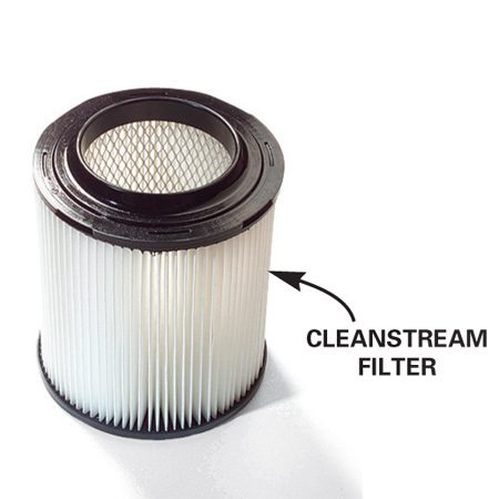 <b>Use high-efficiency vacuum filters</b><br/><p>If you want  a filter that traps even the tiniest   dust  particles, try a high-efficiency version   such as the  CleanStream filter. These filters   are pricey  ($25 to $35), but they&rsquo;re easy to   clean and  last for years.   Ten feet of  2-1/2 in. vacuum hose costs   about $20 at  home centers. CleanStream   filters are  available at   home centers  or visit cleanstream.com</p>