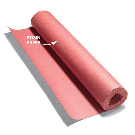 <b>Rosin paper provides a quick cover up</b><br/><p>For quicker  protection   of hard  flooring,   use strips  of rosin   paper taped  at the seams   and around  the perimeter.   While rosin  paper can&rsquo;t   match the  impact and puncture   protection  of hardboard, two or   three layers  of it provide good   defense  against scratches and spills.   A 4 x 8-ft.  sheet of 1/8-in. thick   hardboard  costs about $7 at home centers.   A roll of  rosin paper costs about $8 and   covers about  400 sq. ft.</p>