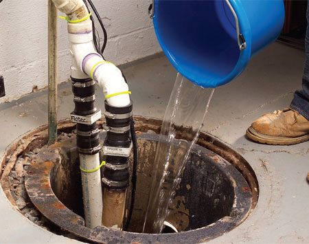<b>Pour water into it to make sure it works</b></br> The most common time for a sump pump to fail is the first heavy rainfall after months of not being used. The submerged or partially submerged portions of cast iron pumps can rust and seize. And they'll burn out when they switch on. Don't get caught with your pump down and the water rising. After a long dry (unused) spell, pour a bucket or two of water into the sump to make sure the pump kicks on.