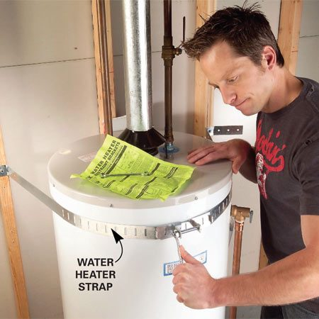 <b>Straps protect gas lines and water heaters</b></br> Earth tremors can tip water heaters and break the gas lines that lead to them, causing either water damage, or worse, an explosion and fire. Water heater straps can prevent this disaster. (They're required in California and other regions.) In earthquake-prone regions, you can find them at home centers and hardware stores for $15. Otherwise, order them online. One source is <a href='http://www.amazon.com.'>amazon.com</a>