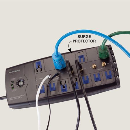 <b>Quality surge protectors protect electronics</b></br> Computer chips are sensitive and highly vulnerable to momentary power surges, especially powerful ones induced by lightning. Losing a $1,000 computer is bad enough, but losing photos, music and other irreplaceable stuff on your hard drive is often much worse. Insulate your valuable microprocessors from this danger by plugging them into a surge protector. Better surge protectors ($40 and up) will have the following ratings printed somewhere on the box: meets UL 1449 or IEEE 587; clamps at 330 volts or lower; can absorb at least 100 joules of energy or more; and handles telephone lines and video cables as well.