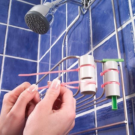 <b>Use PVC pipe and plastic tie straps</b></br> Keep your razor from falling into the tub with this simple holder. Cut a 3-in. length of 1-in. PVC pipe with a handsaw. Cut two 1/8-in.-wide notches in the pipe. Strap the pipe to your wire shower caddy with two plastic tie straps hooked in the notches. Drop the razor into the pipe; the blade will catch on the edges of the pipe, keeping the razor off the floor.