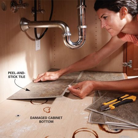 <b>Adhesive tile spruces up storage areas</b></br> When the floor of your sink cabinet needs a spruce-up, lay down squares of self-adhesive vinyl tile. They're about a buck a square at home centers and provide an easy-to-wipe clean surface.