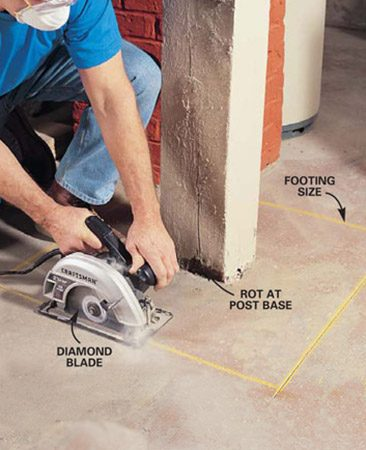 <b>Photo 1: Cut out the old floor</b></br> Mark the size of the new footing and cut the outline with a circular saw fitted with a diamond masonry blade. Start by making a 1-in. deep plunge cut on each side of the post. Make successively deeper 1-in. cuts until soil pulled from underneath the slab tells you the concrete has been breached.