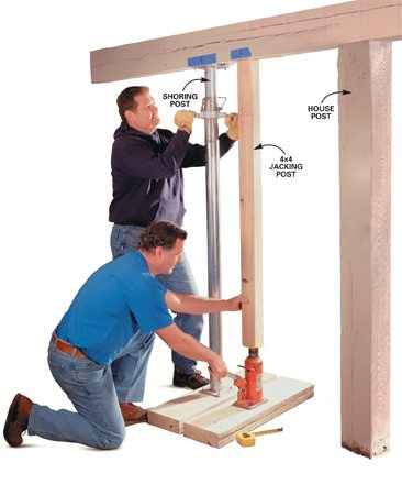 <b>Photo 6: Pump the hydraulic jack</b><br/>Raise the house beam by pumping the hydraulic jack very slowly using short strokes. <em>Raise it no more than 1/2 to 1 in. total to release the weight from each post.</em> Measure from the floor to the beam to monitor the beam&#39;s rise. Have an assistant simultaneously raise the shoring post as tight as possible against the beam to provide backup load support. When the old post loosens, remove and label it for reuse.