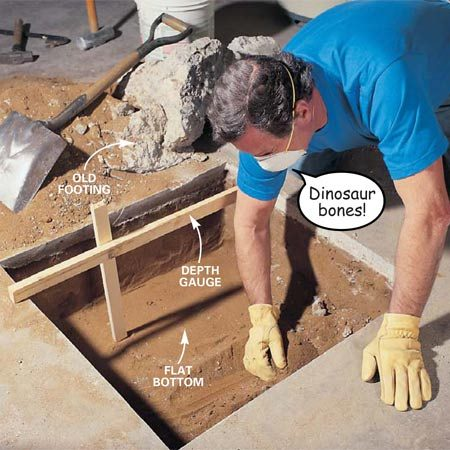 <b>Photo 7: Dig the footing</b></br> Excavate the footing hole to the specified size, digging the sides and bottom of the hole square and level. Scrape loose soil from the bottom of the hole until you reach undisturbed soil. If the soil caves in along the edges, install 1/2-in. plywood to hold the dirt back. Remove them while pouring the concrete.