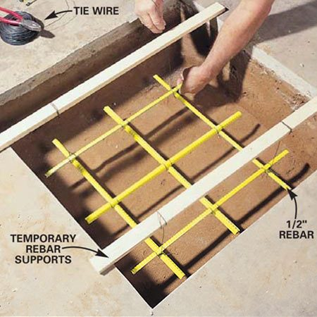 <b>Photo 8: Place the rebar </b><br/>Install rust-free, 1/2-in. dia. reinforcing rod (rebar) to strengthen the concrete footing. Suspend the rebar in the lower third of the footing and tie the rebar together using 16-gauge wire.