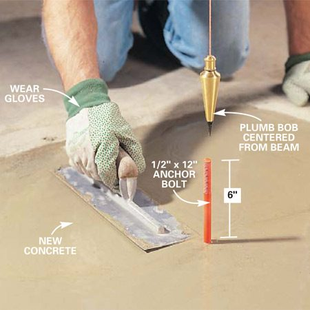 <b>Photo 9: Pour the footing</b></br> Pour concrete into the hole to the level of the existing floor and smooth it with a steel trowel. Suspend a plumb bob from the post's center point under the beam above and place a 1/2-in. x 12-in. anchor bolt in the wet mud.