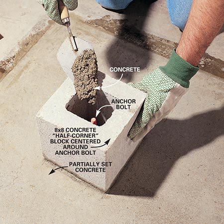 <b>Photo 10: Place the plinth block</b></br> Level an 8x8 concrete block in freshly laid concrete, centering it around the anchor bolt. Completely fill the core with concrete.