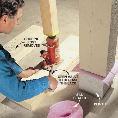 <b>Photo 12: Set the post</b></br> Set the post on its plinth block (use sill sealer as a vapor barrier), matching the post top to its prior contact position with the house beam. Then reset the hydraulic jack, lower the shoring post, and very slowly open the valve of the hydraulic jack to carefully lower the beam onto the post.