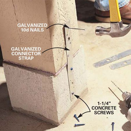 <b>Photo 13: Anchor the post to the plinth block</b></br> Using a hammer drill fitted with a masonry bit, predrill two 3/16-in. holes 1-1/4 in. deep into opposite sides of the plinth block. Install 1-1/4 in. concrete screws through metal anchor straps into the plinth and then nail the straps to the wooden post with galvanized 10d box nails.