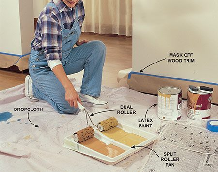 <b>Photo 1: Saturate the rollers</b></br> Mask all your woodwork and the ceiling, lay a dropcloth on the floor and have some newspaper on hand before painting. Pour equal amounts of ordinary flat latex paint into the sections of the split roller pan provided in your painting kit. Evenly saturate the rollers with paint.