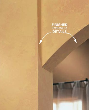 <b>Close up of corners</b></br> With a little extra attention to detail, corners and narrow areas will blend seamlessly with the rest of the wall.