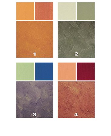 <b>Color samples</b></br> The smaller color chips will blend together into the sample patterns below them. To get similar results, match these samples to color swatches you find at local paint stores.