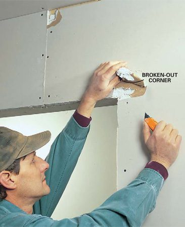 <b>Photo 1: Remove broken or loose drywall</b><br/>Score the paper around broken corners, blisters or other damaged areas in the drywall with a utility knife.  Peel the paper away and remove any broken or loose gypsum core. Lightly sand rough paper and scored edges with a sanding sponge.