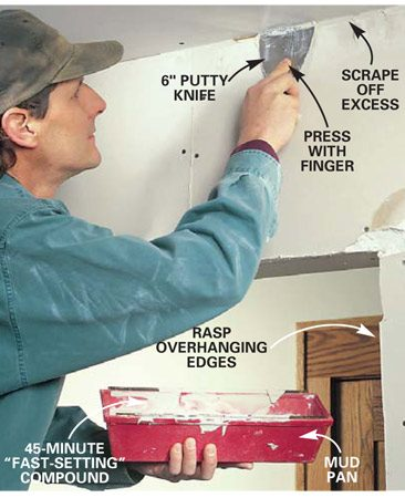 <b>Photo 2: Fill damaged areas and cracks with setting compound </b></br> Mix 45-minute setting-type taping compound in a mud pan to the consistency of peanut butter. Fill damaged areas and cracks more than 3/8 in. wide with a 6-in. knife. Keep mud flush with surrounding drywall, never raised. Setting compound is hard to sand after it sets.