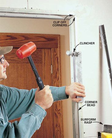 <b>Photo 3: Install corner bead </b></br> Cut corner beads to length with tin snips and hold them in place to make sure beads meet perfectly at corners. Clinch corner beads into place with a clincher. Run a 6-in. putty knife along the bead and adjoining drywall (on both sides) to make sure you've left a void to fill with mud. Then anchor the corner beads through the drywall into surrounding framing with 1-5/8 in. drywall nails spaced every 8 in. Drive extra nails into edges that don't lie flat.