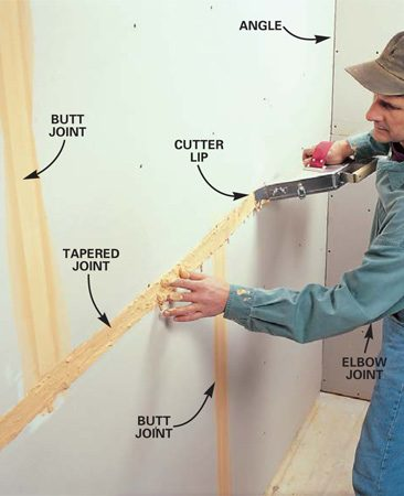 <b>Photo 6: Cover the joints with tape </b></br> Apply the tape by holding one end of the tape against the joint with your hand while drawing away the banjo to pull out the tape. Press the wet tape into joints by dragging your fingers over the tape. Spread a little mud on the 6-in. knife and embed the tape by dragging the knife over the tape, pressing it tight to the drywall. Mud on the knife lubricates it so it won't pull at the tape and thoroughly moistens the tape for good adhesion. Cover the butt joints first, then the tapered joints.