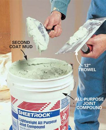 <b>Photo 10: Mix the second coat of mud </b></br> Mix second- (and third) coat mud to the consistency of creamy mashed potatoes, adding water as necessary. Scoop mud out of the bucket and onto the trowel with the 6-in. knife for spreading on the wall.