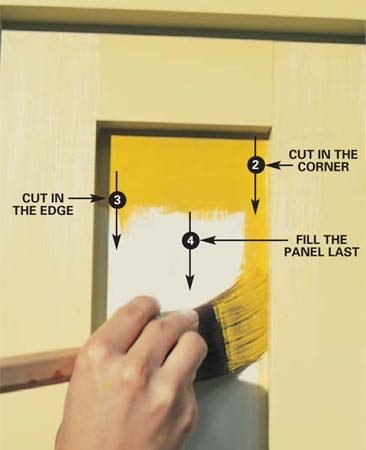 <b>Photo 8: Paint the next edge</b></br> Turn the brush to paint the adjacent edge of the same inside corner and repeat the process. Reload the brush and remove excess paint from the bristles by laying on the paint close to, but not against, the edge you're cutting in. Without reloading the brush, go back and paint close to the edge. Fan the bristles slightly and use a slow, steady stroke while concentrating on the line you're painting. Complete the job by smoothing the paint in the center of the panel with long, sweeping strokes, keeping well away from the completed edge.